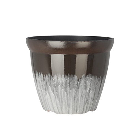 Fantastic :) 11-Inch Round Drum Shape Shinny Finish Decorative Plastic Planters Flower Pot-(Mixglaze-Coffee)