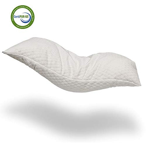Alasville Natural Shredded Latex Foam Pillow Adjustable Standard/Queen/King Pillow With Removable Breathable Cooling Hypoallergenic Pillow Cover (Standard)