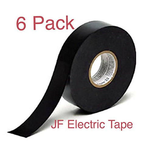 Jf Electrical Tape, Vinyl, Black, Utility Tape, Professional-Grade, 3/4  X 50 Value Pack, 6-Rolls.