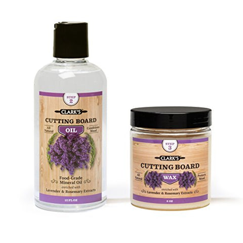 Clark'S Cutting Board Oil &Amp; Wax (2 Bottle Set) | Includes Clark'S Cutting Board Oil (12Oz) &Amp; Clark'S Finish Wax (6Oz) | Lavender &Amp; Rosemary Scent