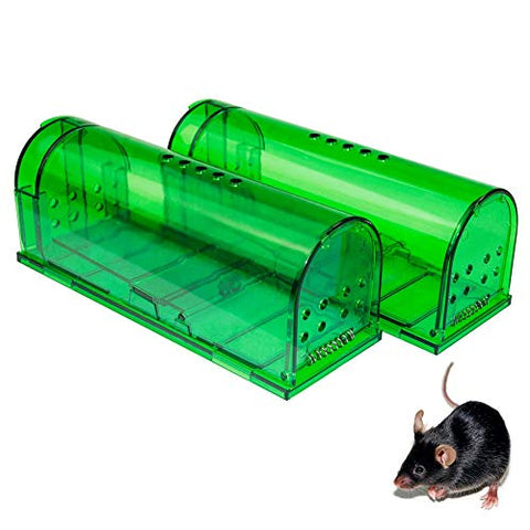 Humane Mouse Trap - Mouse Traps That Work  Best Mouse, Mice And Rat Trap  Plastic Traps Live Catch And Release Rodents, Safe Around Children And Pets (2Packs)