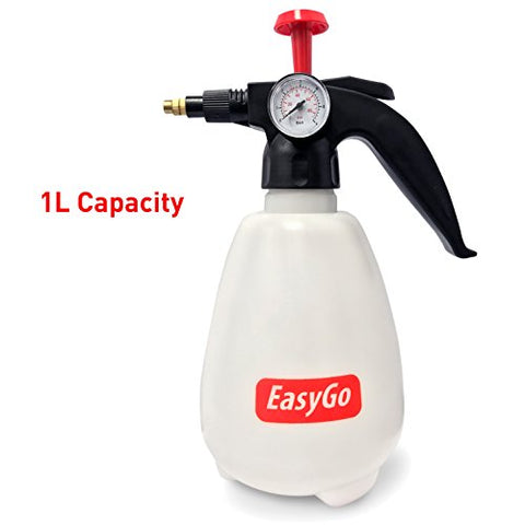 Easygo Products Egp-Sho-007 Bottle 1 Liter (34 Ounces) Hand Pump Sprayer W/Pressure Gauge  Mister Setting-For Gardening, Fertilizing, Cleaning &Amp; General Use Spraying Water-Chemicals-P, 1-Liter
