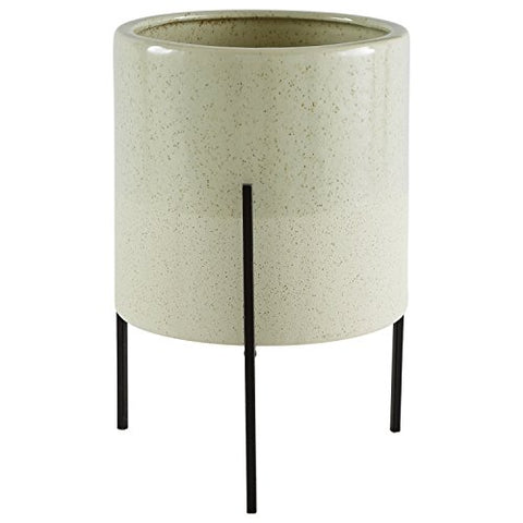 Rivet Mid-Century Ceramic Planter With Iron Stand 14 H, Green