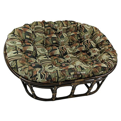 Blazing Needles Patterned Tapestry Double Papasan Chair Cushion, 58  X 6  X 78 , Hypotenuse