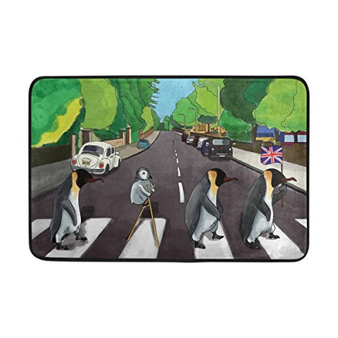Zoeo Penguin Bath Mat Non Slip Super Absorbent Cute Fans Abbey Road Bathroom Rug Black Indoor Carpet Doormat Floor Dirt Trapper Mats Shoes Scraper 24X16 Inch