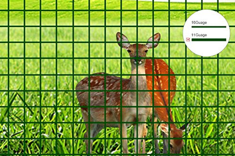 V Proteck 16 Gauge 4Ft-Hx49Ft-L Pvc Coated Wire Mesh Fence,Poultry Netting Gutter Guards,Backyard Rabbit Fencing, 2.4 Opening , Garden Green