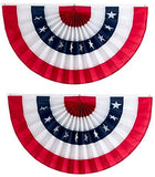 American Flag Bunting By Independence Bunting! American Made Bunting Banner! Fully Sewn Patriotic Bunting With Stars Makes Your Home The Envy Of The Neighborhood (Polycotton, 24  X 48 )