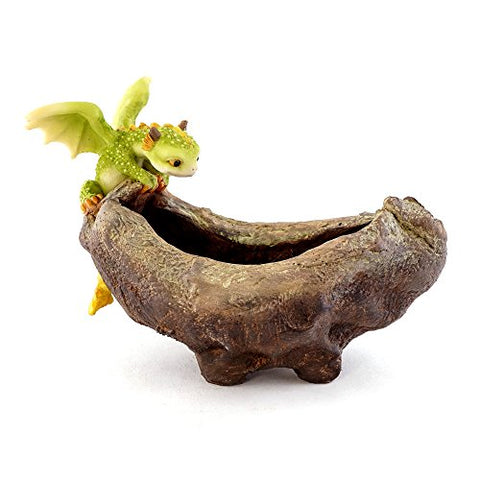 Top Collection Rex The Green Dragon Perched On Succulent Planter And Air Plant Pot, 4.75-Inch Tall 7.5-Inch Wide, Cute Magic Dragon Statue