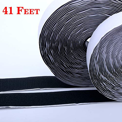 Hook And Loop Tape-Roll Self Adhesive Tape Strips Sticky Back Fastener, 1In X 41Feet(1 In - Black)