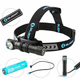Bundle: Olight H2R Nova Cree Led 2300 Lumens Rechargeable Headlamp Flashlight Customized 18650 Battery - Magnetic Usb Charging Cable- Headband - Clip And Mount With Olight Patch ( Cw )
