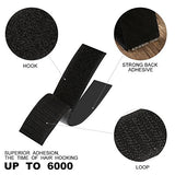 Jiho Hook And Loop Tape Roll Strips With Adhesive Back Mounting Tape For Picture And Tools Hanging Pedal Board Fastening By (1Inch, Black)