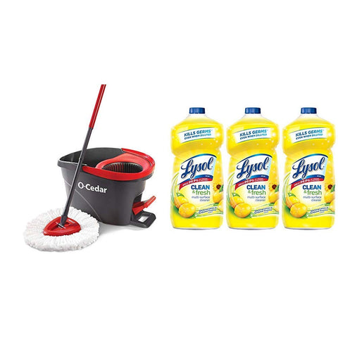 O-Cedar Easywring Microfiber Spin Mop, Bucket Floor Cleaning System & Lysol Clean & Fresh Multi-Surface Cleaner, Lemon & Sunflower, 120Oz (3X40Oz)