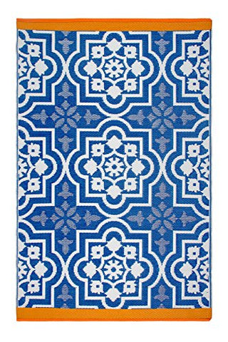 Fab Habitat Reversible, Indoor/Outdoor Weather Resistant Floor Mat/Rug - Puebla - Blue (5' X 8')