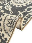 Kapaqua Rubber Backed Mat 18  X 32  Floral Swirl Medallion Grey &Amp; Ivory Doormat Accent Non-Slip Rug - Rana Collection Kitchen Dining Living Hallway Bathroom Pet Entry Rugs Ran2033-12