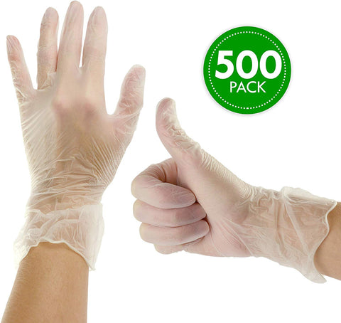 Plasticpro Disposable Vinyl Gloves Powder Free Plastic, Clear,Allergy Free, Latex Free, Medium