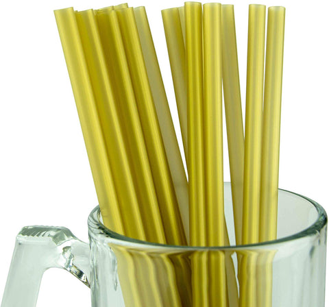 "Made In Usa Individually Wrapped Gold Jumbo Plastic Smoothie (10"" X 0.28"") Drinking Straws (Fda-Approved, Non-Toxic, Bpa-Free)"
