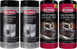 Weiman Microwave & Cook Top Wipes And Stainless Steel Wipes -  30 Wipes Each