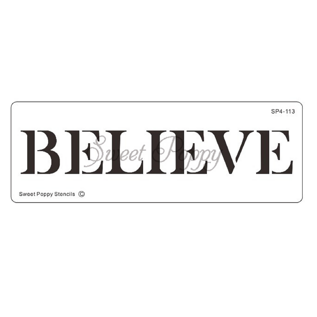 "Inspirational Words ""Believe"" Stencil by Sweet Poppy"