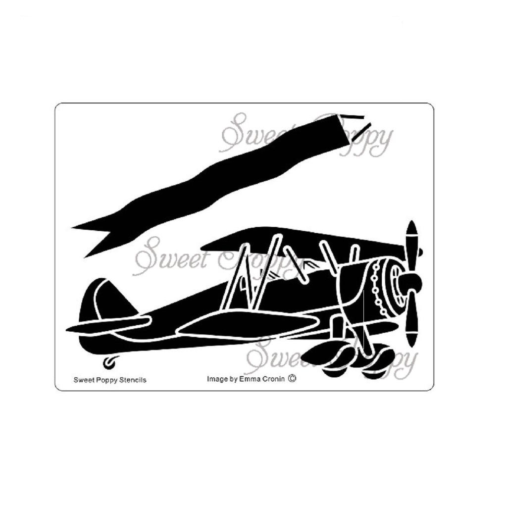 Biplane & Banner Stencil by Sweet Poppy