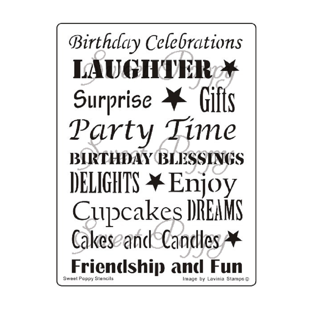 Birthday Words Stencil by Sweet Poppy