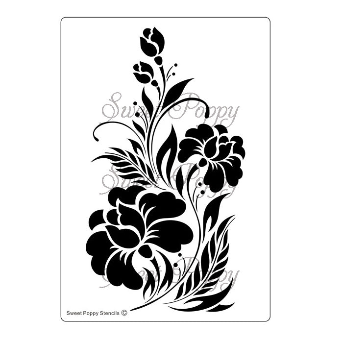 Black Orchid Stencil by Sweet Poppy