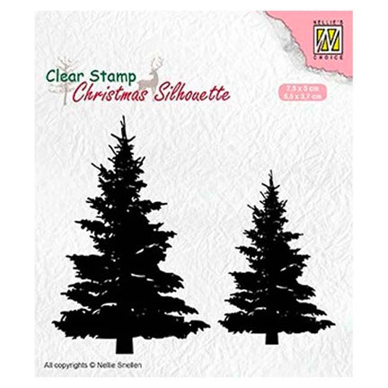 Christmas Silhouette Fir Trees Stamp by Nellie's Choice