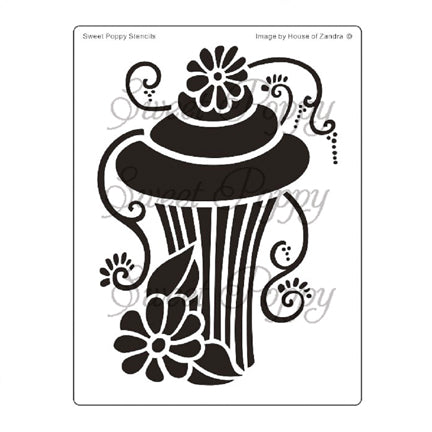 Cake 5 - Cupcake Stencil by Sweet Poppy