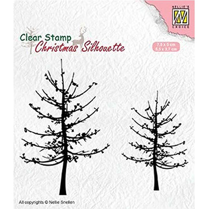 Christmas Silhouette Leafless Trees Stamp by Nellie's Choice