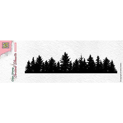 Christmas Silhouette Pine Tree Border Stamp by Nellie's Choice