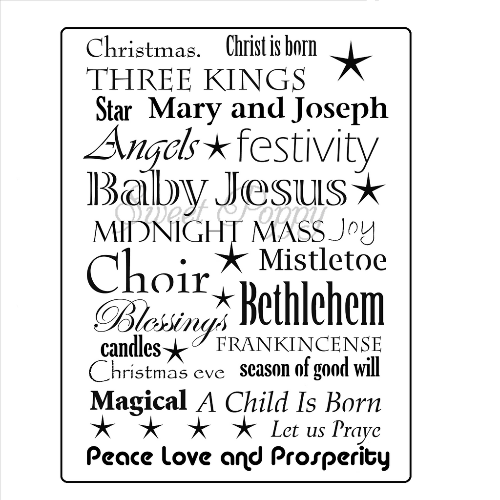 Christmas Words Stencil by Sweet Poppy