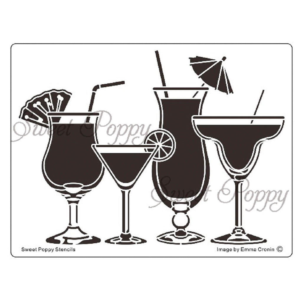 Cocktails Stencil by Sweet Poppy