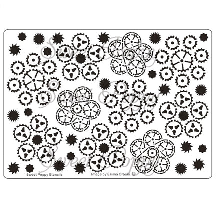 Cogs & Gears Flower Background Stencil by Sweet Poppy