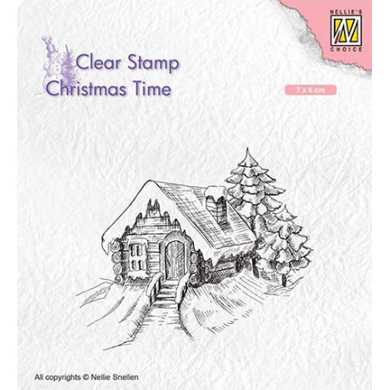 Cosily Snowy Cottage Stamp by Nellie's Choice