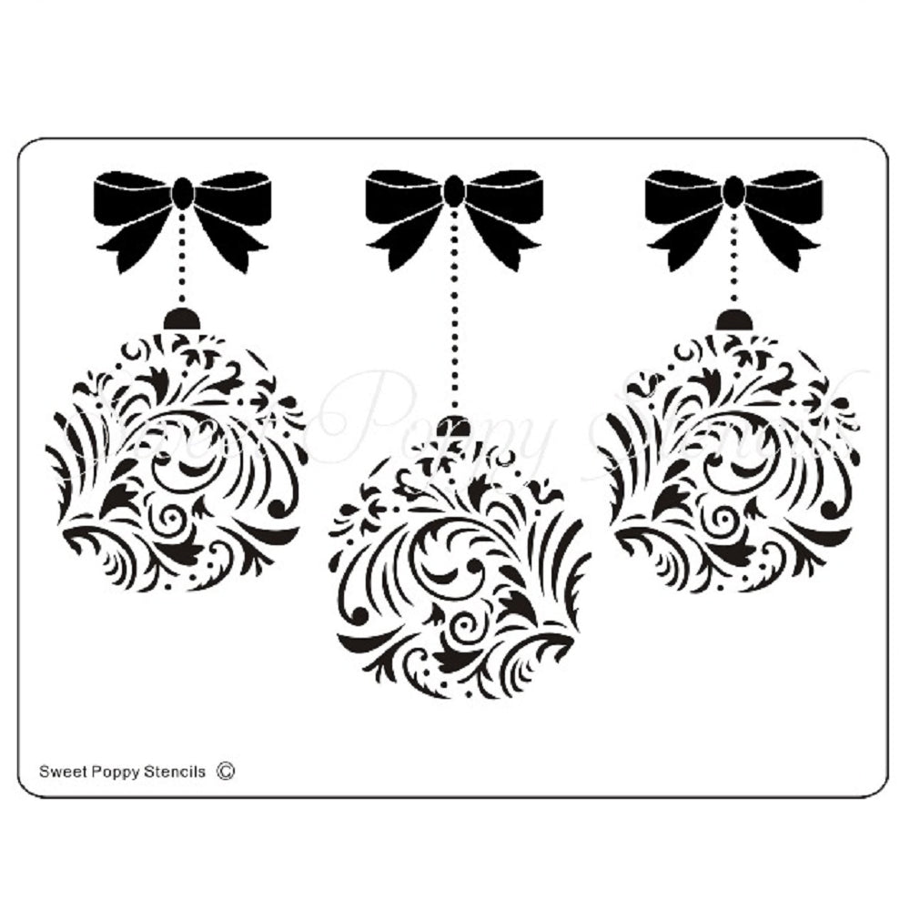 Damask Baubles & Bows Stencil by Sweet Poppy