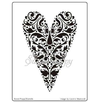 Deco Heart Stencil by Sweet Poppy