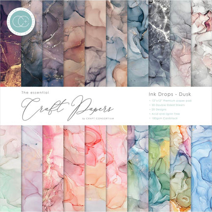 "Ink Drops Dusk 12"" x 12"" Premium Paper Pad by Craft Consortium"