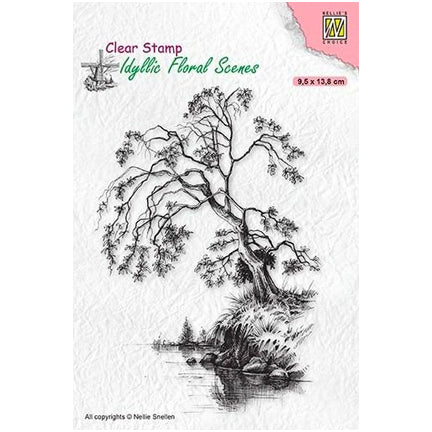 Idyllic Floral Scene Tree on Waterside Stamp by Nellie's Choice