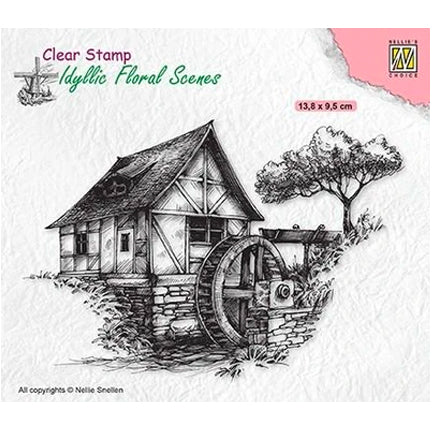 Idyllic Floral Scene Watermill Stamp by Nellie's Choice