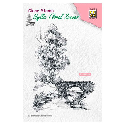 Idyllic Floral Scene with Stream & Bridge Stamp by Nellie's Choice