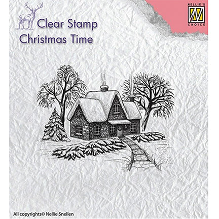 Christmas Time Idyllic Winter Scene Stamp by Nellie's Choice