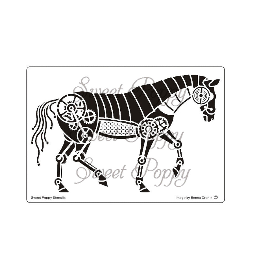 Mechanical Horse Stencil by Sweet Poppy