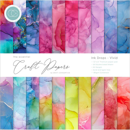 "Ink Drops Vivid 12"" x 12"" Premium Paper Pad by Craft Consortium"