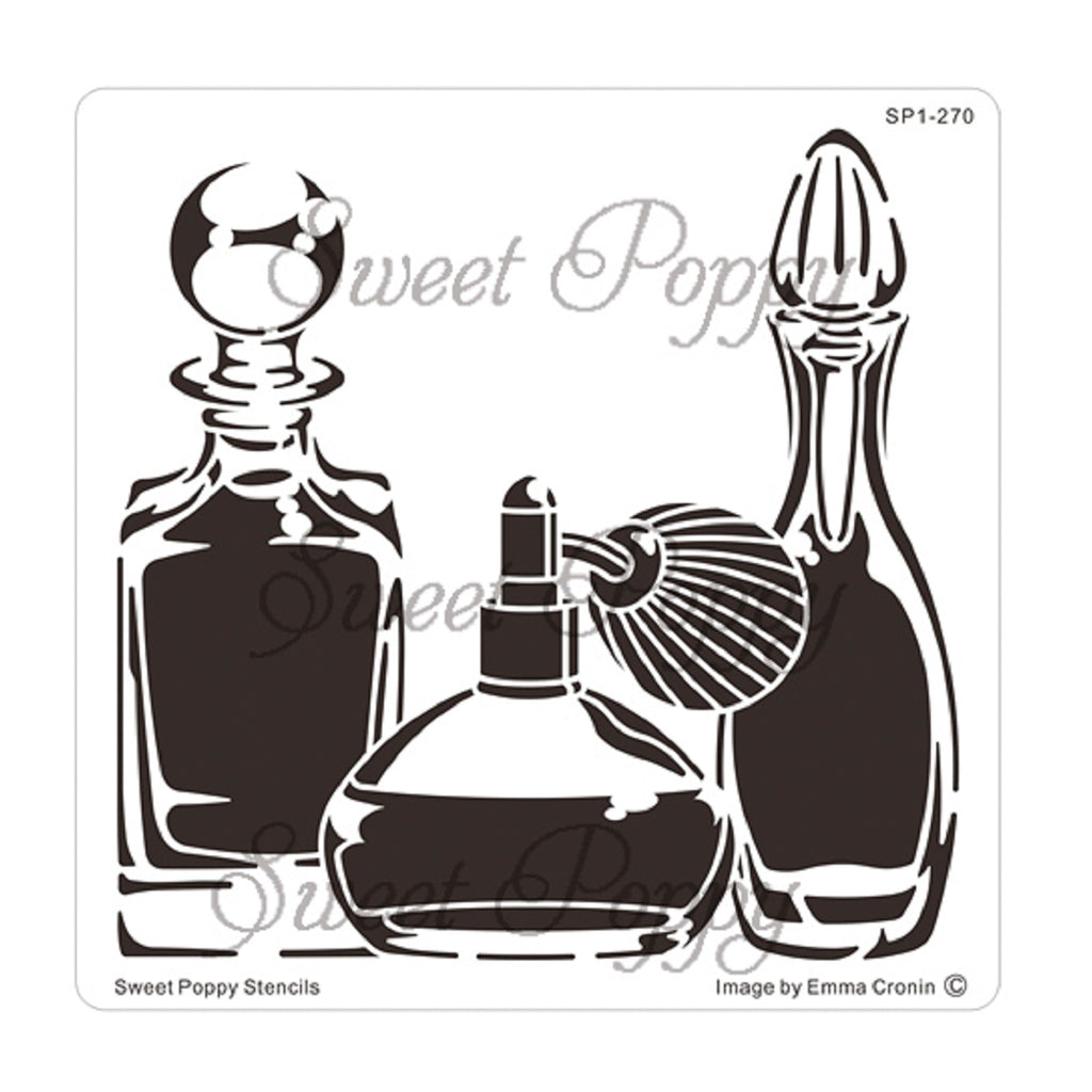 Perfume Bottles Stencil by Sweet Poppy