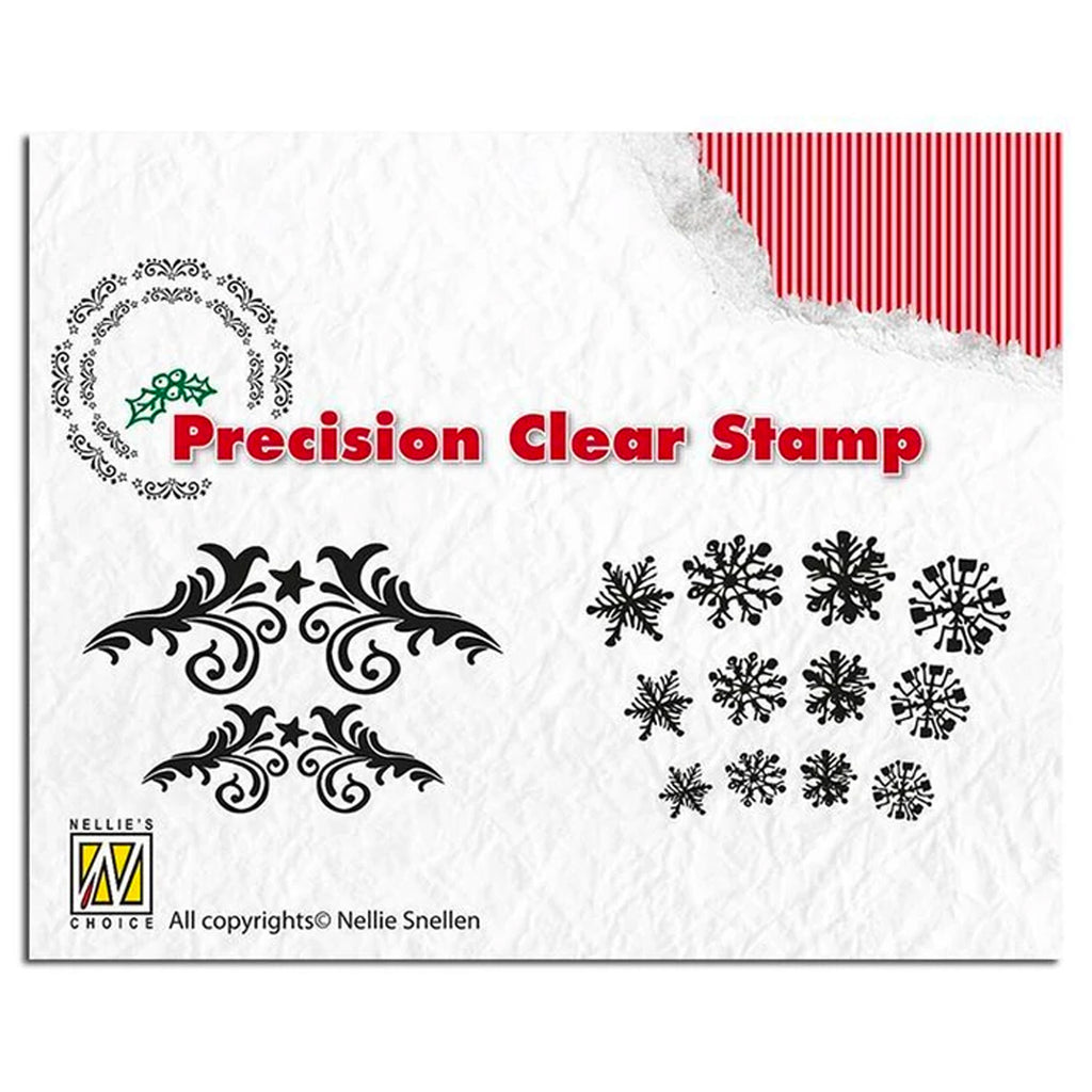 Precision Stamp Set - Christmas Flowerswirl & Snowflake by Nellie's Choice