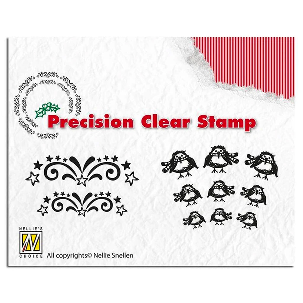 Precision Stamp Set - Christmas Starburst & Robin by Nellie's Choice