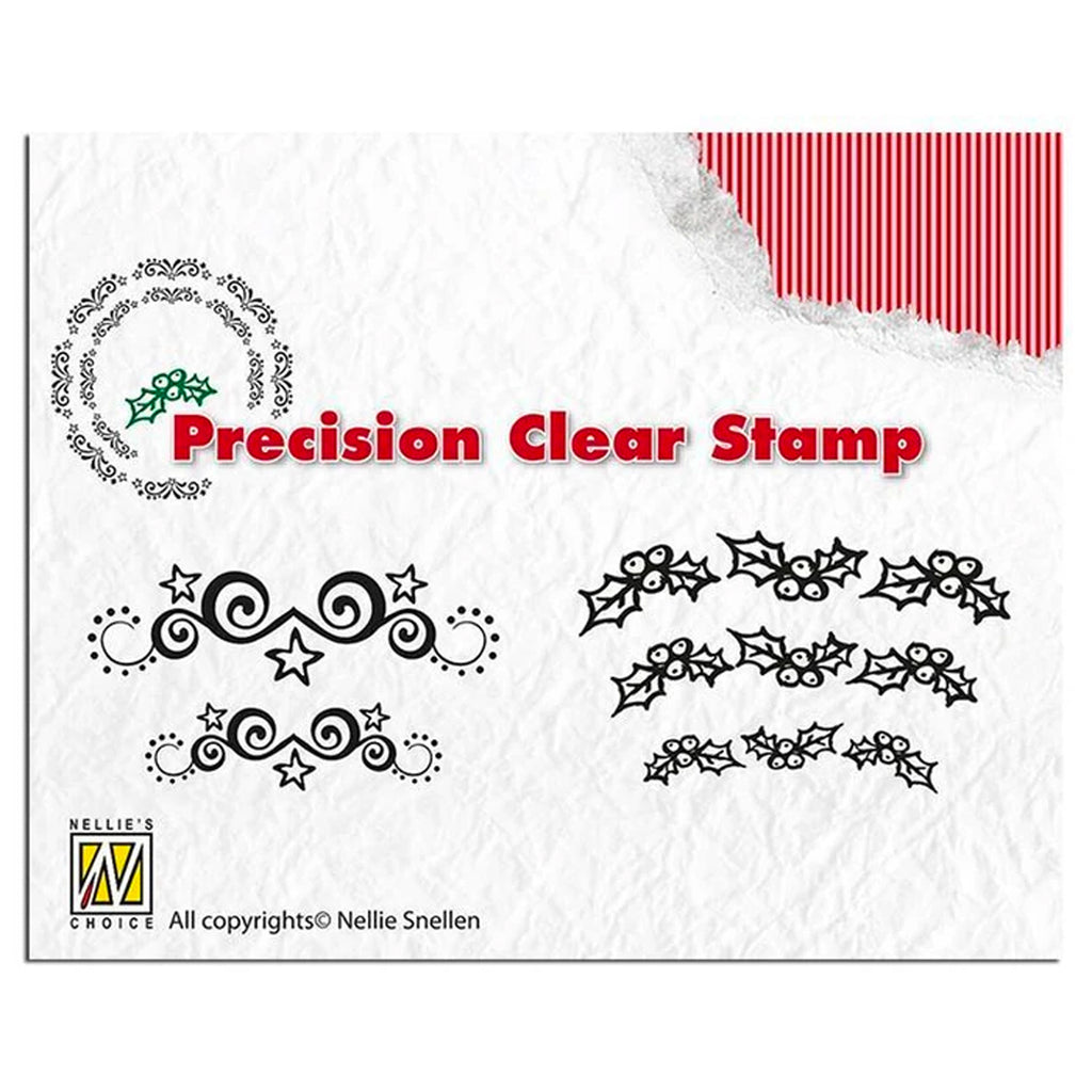 Precision Stamp Set - Christmas Starswirl & Holly by Nellie's Choice