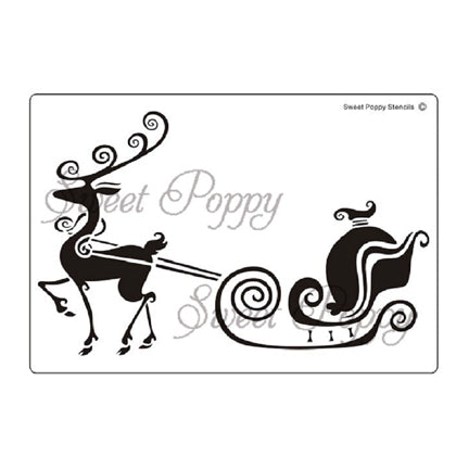 Reindeer & Sleigh Stencil by Sweet Poppy