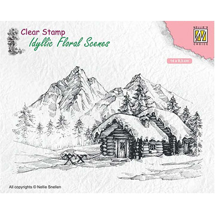 Snowy Landscape with Cottage Stamp by Nellie's Choice