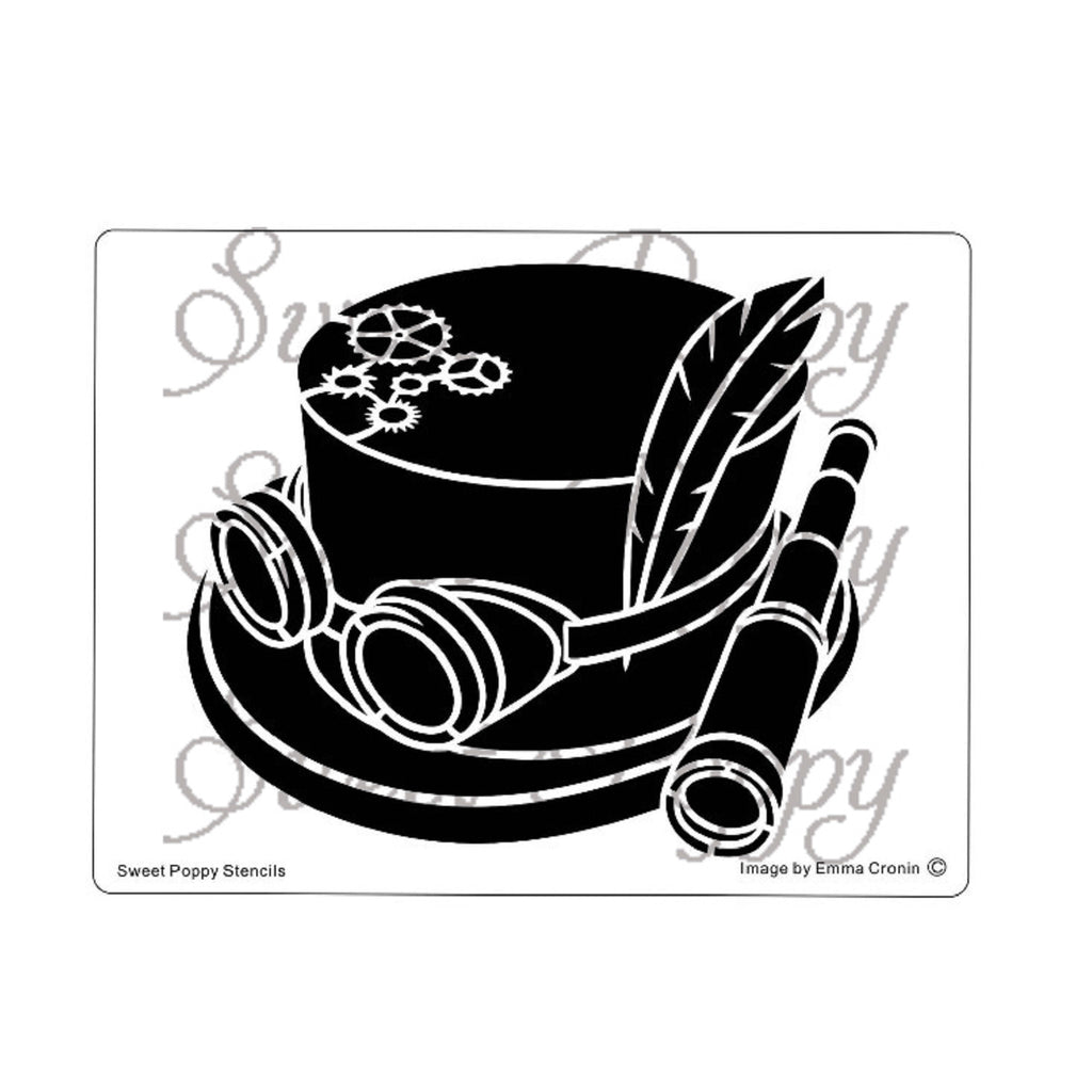 Steampunk Hat Stencil by Sweet Poppy