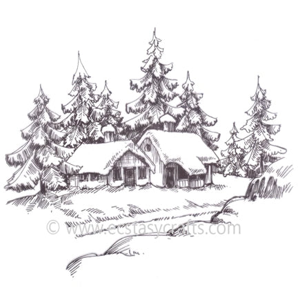 Winter Time-Wintery House Stamp by Nellie's Choice